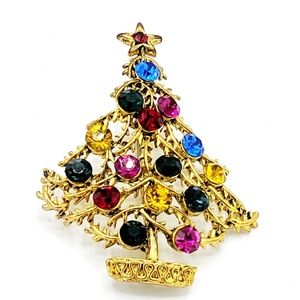 Vintage Christmas Tree Brooch Colored Rhinestones